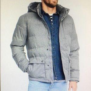Brushed Herringbone Hooded Puffer Coat